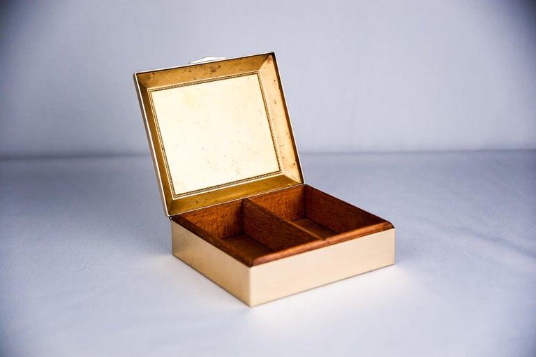 Brass Art Deco Jewelry Box, 1920s For Sale