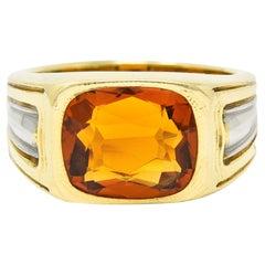 Art Deco Jones & Woodland Citrine 18 Karat Two-Tone Gold Men's Gemstone Ring