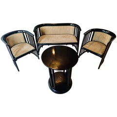 Art Deco Josef Hoffmann Secession Suite Loveseat Two Chairs and Small Table