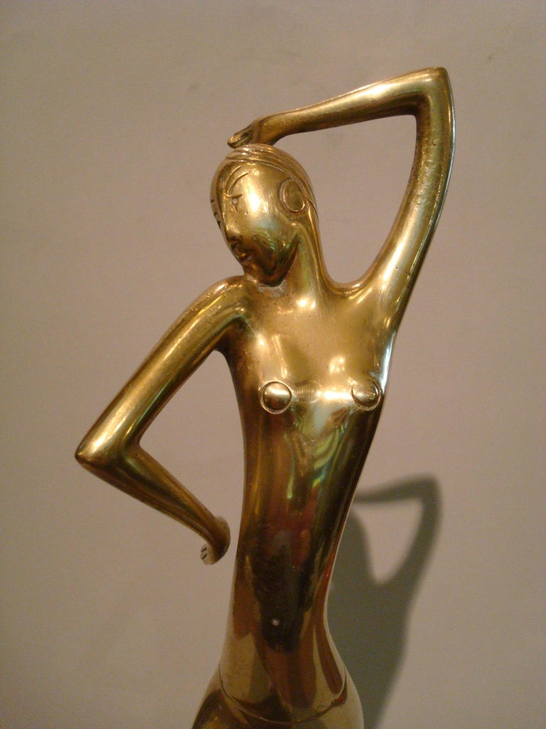 Art Deco Josephine Baker Female Dancer Brass Statue, Austria 1930 Karl Hagenauer For Sale 2