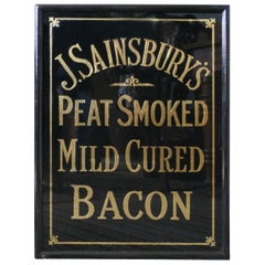 Art Deco J.S.Sainsbury's Bacon Advertising Mirror Sign, in Black and Gold