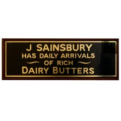 Art Deco J.S.Sainsbury's Bacon Advertising Sign, Gold on Black Mirror