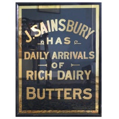 Art Deco J.S.Sainsbury's Butter Advertising Mirror Sign, in Black and Gold