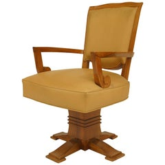 French Art Deco Beige Leather Swivel Chair