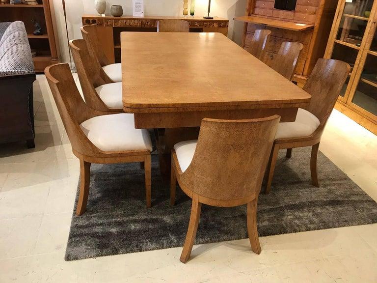 Art Deco Karelian Birch Dining Table And Eight Matching