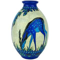Art Deco Keramis Boch Blue Deer Vase