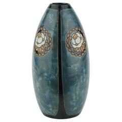 Art Deco Keramis Stoneware Boch Vase with Floral Medallions D771 F987
