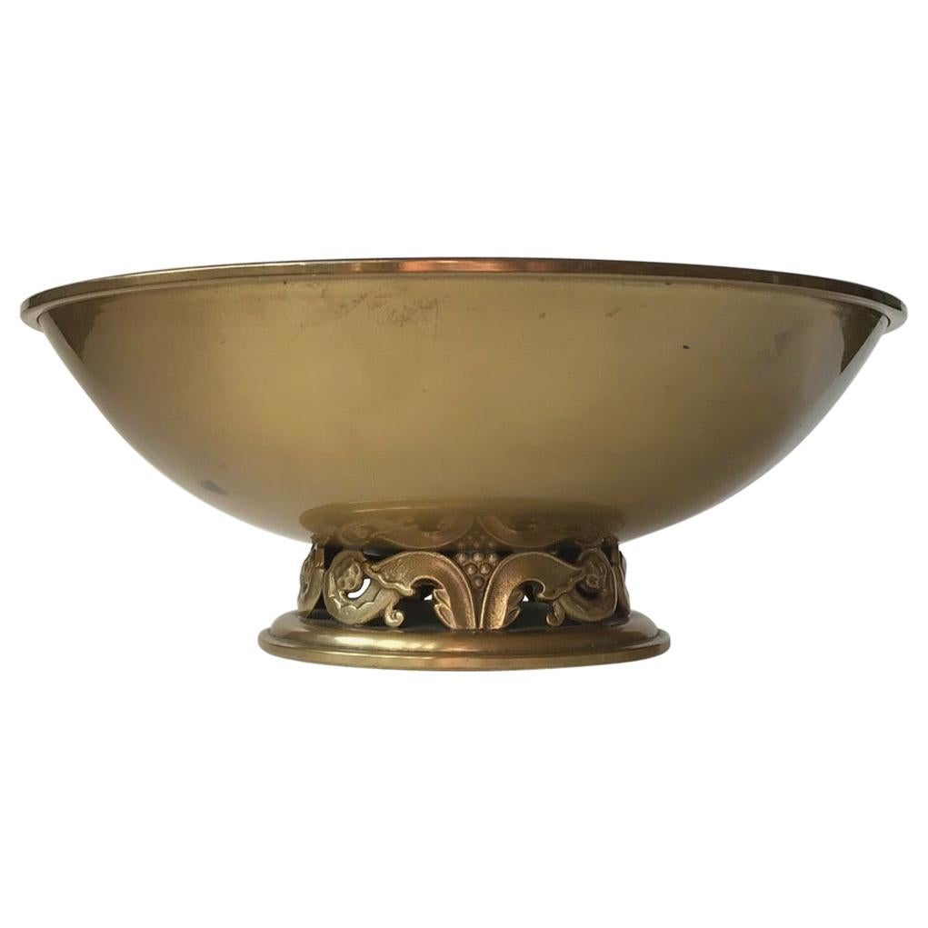 Art Deco King Bowl in Brass by Ystad Metall, 1940s