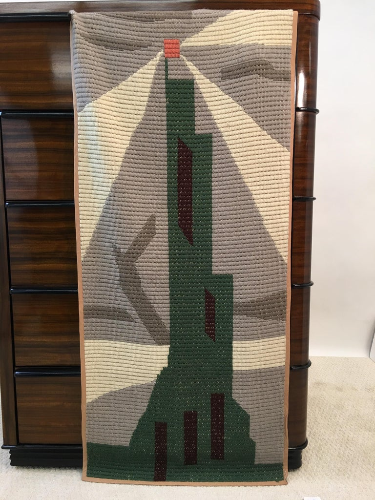 Art Deco Knit Tapestry Skyscraper Design For Sale 4