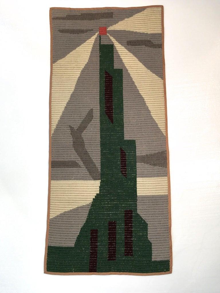 American Art Deco Knit Tapestry Skyscraper Design For Sale