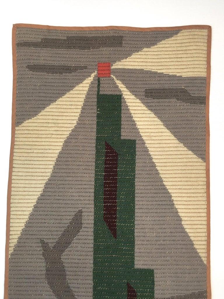Woven Art Deco Knit Tapestry Skyscraper Design For Sale