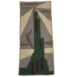 Art Deco Knit Tapestry Skyscraper Design