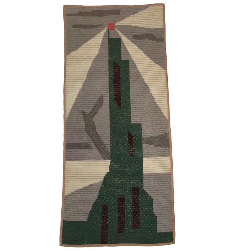 Art Deco Knit Tapestry Skyscraper Design For Sale