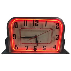 Art Deco Lackner Table / Counter Top Neon Clock, 1930s