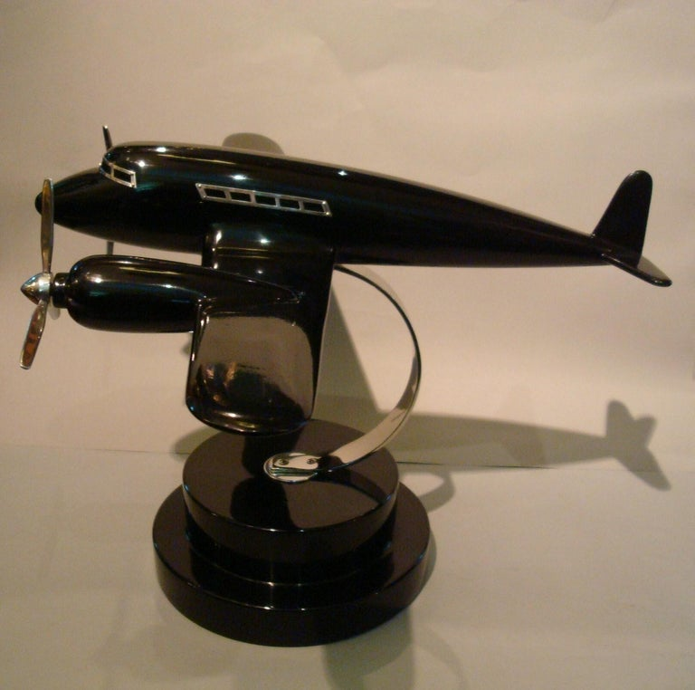 Lacquered Art Deco Lacquer Wood Airplane Model, France, 1930s For Sale