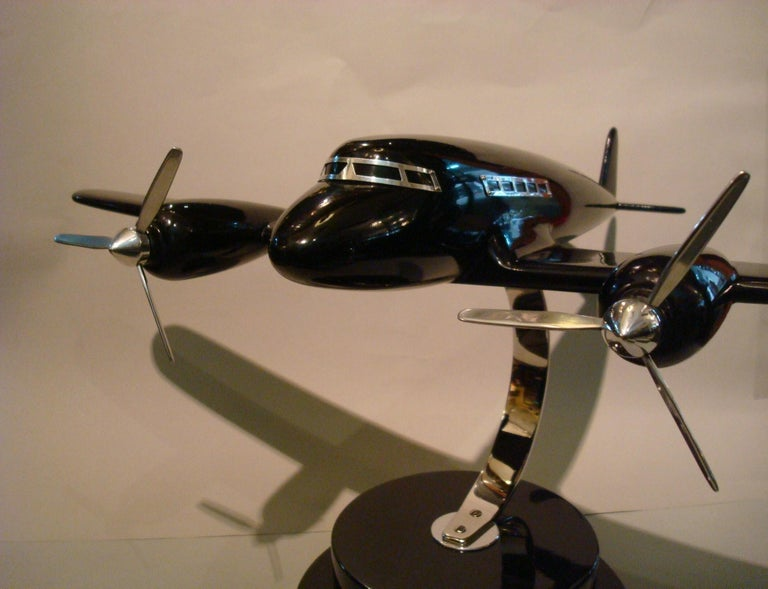 20th Century Art Deco Lacquer Wood Airplane Model, France, 1930s For Sale