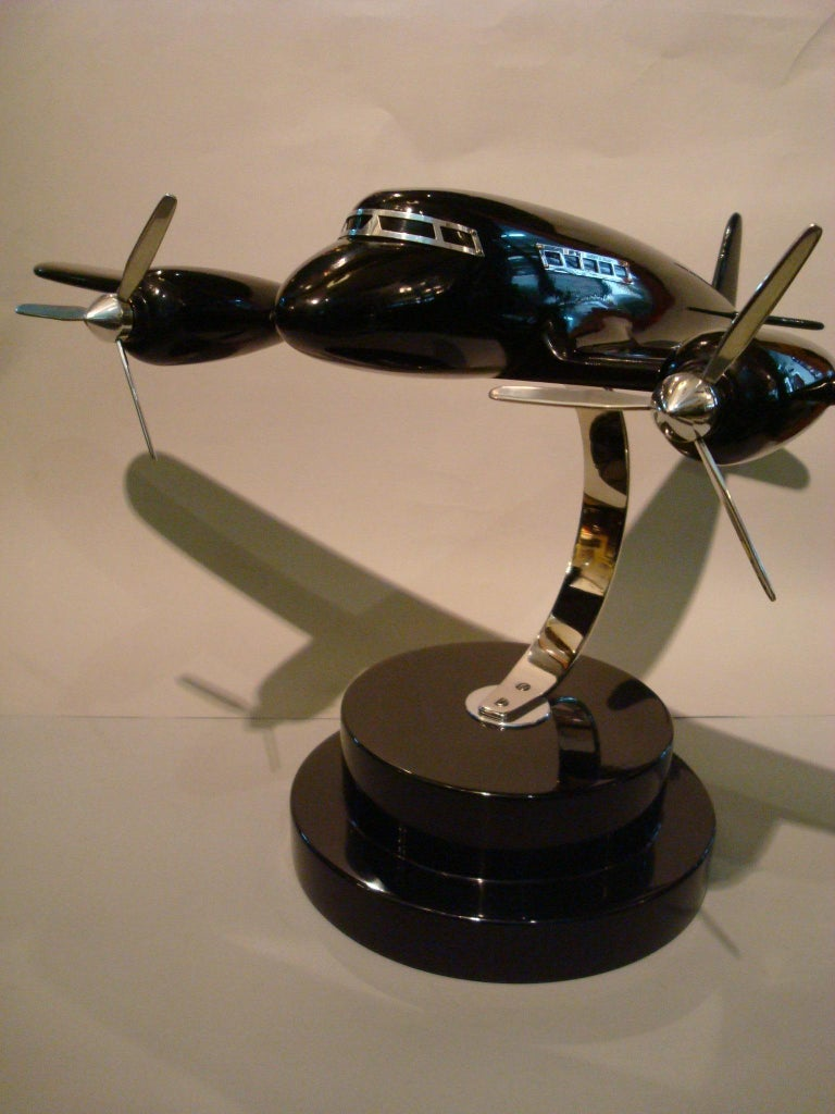Art Deco Lacquer Wood Airplane Model, France, 1930s For Sale 1