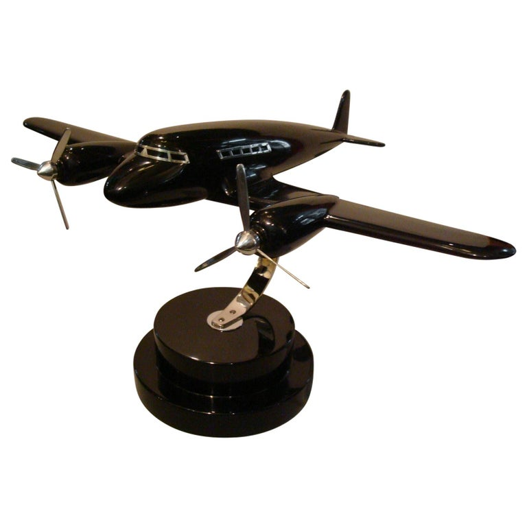 Art Deco Lacquer Wood Airplane Model, France, 1930s For Sale