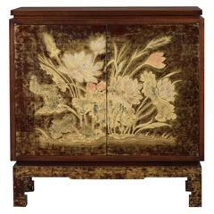 Art Deco Lacquered and Engraved Wood Cabinet by Pierre Bobot