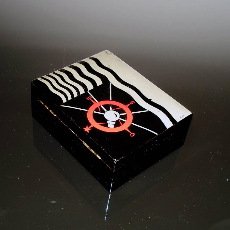French Art Deco Lacquered Decorative Jewelry Box For Sale