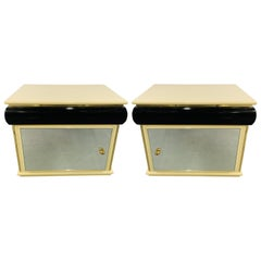 Art Deco Lacquered Off-White and Black Nightstand with Mirrored Door, a Pair