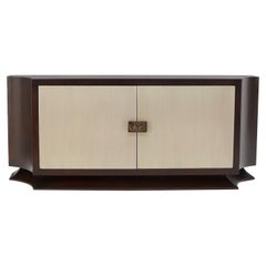 Art Deco Lacquered Pickled Mahogany Double Door Dovetail Drawers Credenza