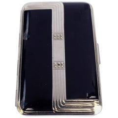 Art Deco Ladies Black Enamel and Chrome Compact, circa 1930, Richard Hudnut