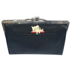 Art Deco Ladies Black Leather Clutch Bag
