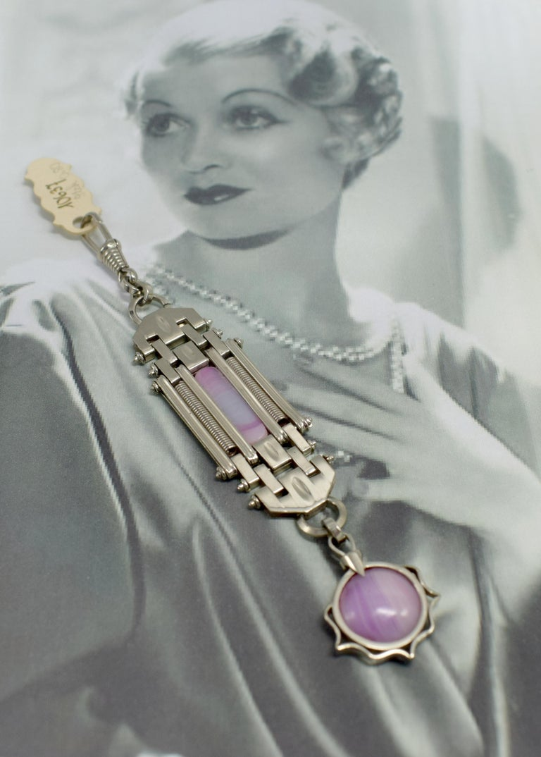 Art Deco Ladies Fob Watch Holder or Key Ring For Sale 1