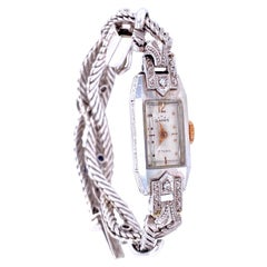 Art Deco Ladies Gold Diamond Sapphire Wristwatch