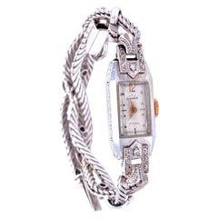 Art Deco Ladies Gold Diamond Sapphire Wristwatch