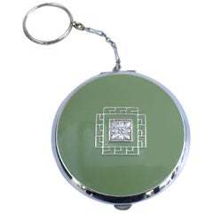 Art Deco Ladies Green Enamel & Chrome Powder Compact, c1930