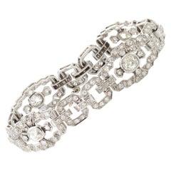 Art Deco Ladies Platinum Diamond Bracelet, with 5 Carat+ of Diamonds, 1920s