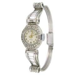 Art Deco Lady Diamond Manual Wind Wristwatch, 18kt Wt Gold & Plat, France, c1935