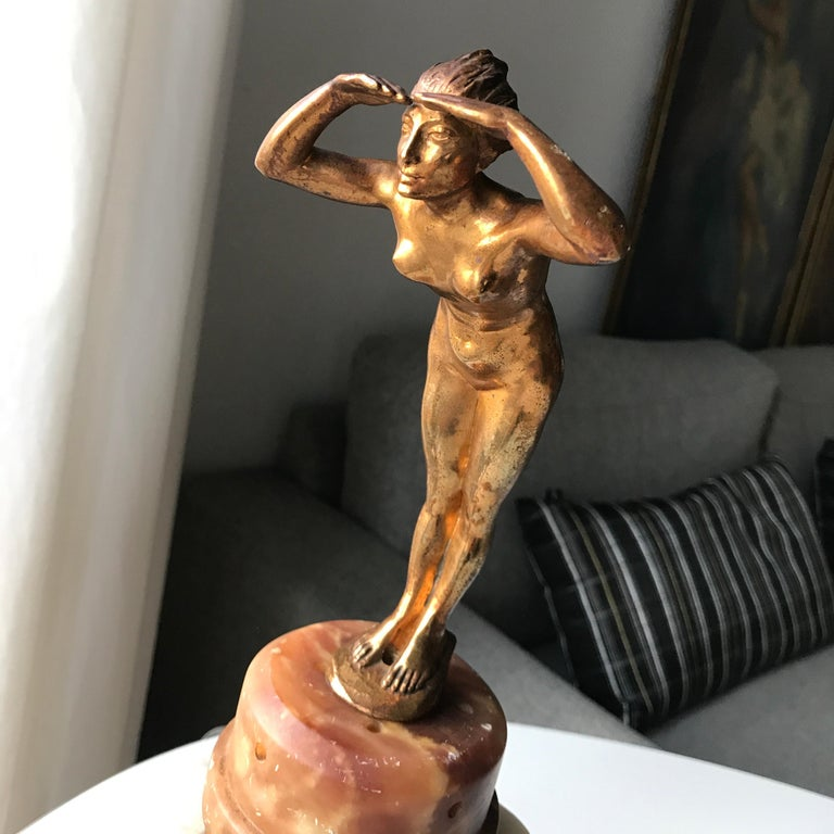 Art Deco Lady Figurine Table Lamp For Sale 7