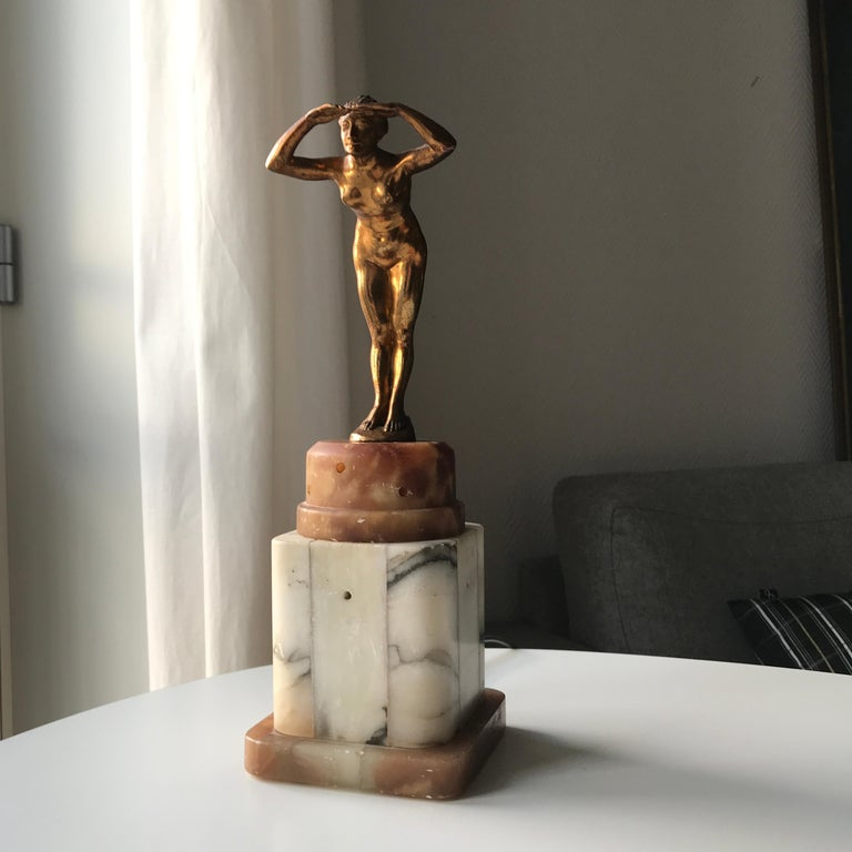 Gilt Art Deco Lady Figurine Table Lamp For Sale