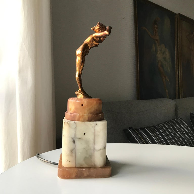 Early 20th Century Art Deco Lady Figurine Table Lamp For Sale