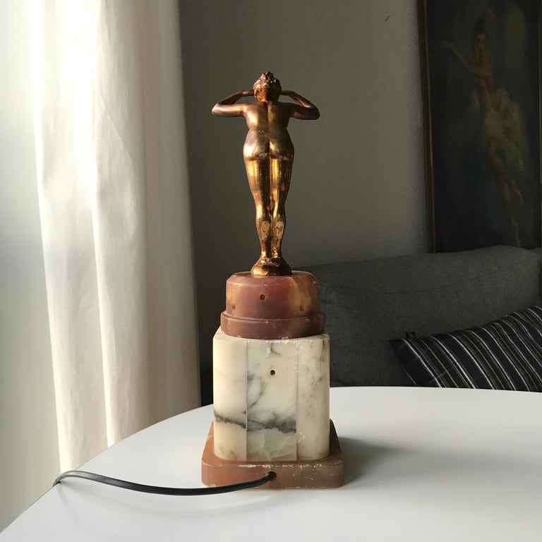 Alabaster Art Deco Lady Figurine Table Lamp For Sale