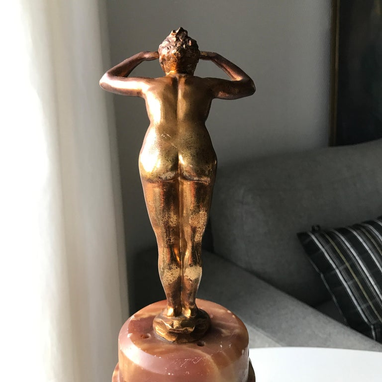 Art Deco Lady Figurine Table Lamp For Sale 1