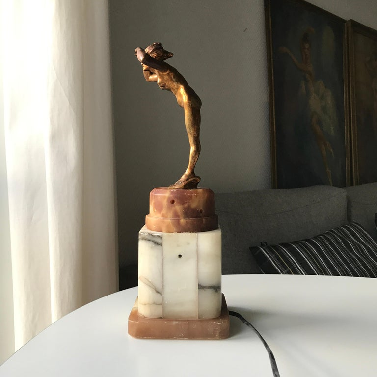 Art Deco Lady Figurine Table Lamp For Sale 2