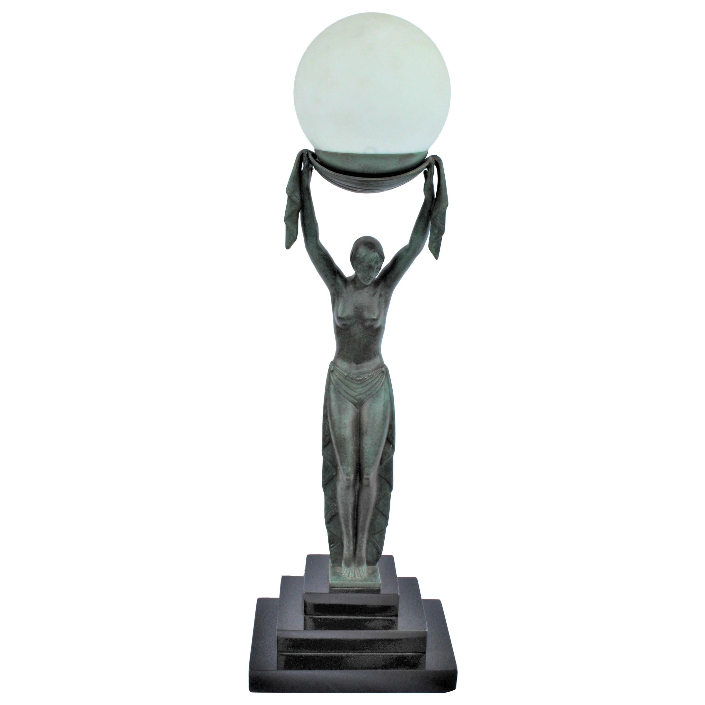 Art Deco Lady Lamp, Bronze with Green after Fayral, Title Verite Marble Base