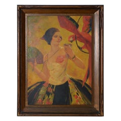 Art Deco Lady with a Red Macaw Original Oil Painting, circa 1920s