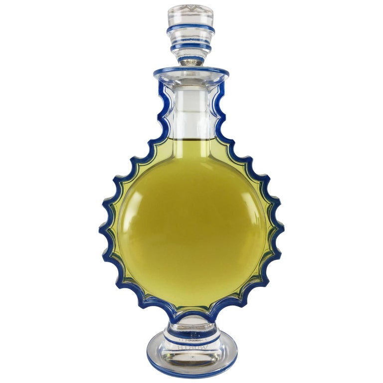 Art Deco Lalique Crystal & Enamel Master Size Perfume Display Bottle, circa 1944 For Sale