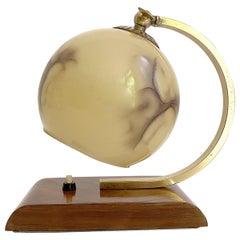 Art Deco Bauhaus Table Lamp, 1930s, Glass Brass Wood