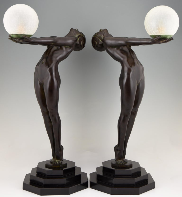 Art Deco Lamp Clarté Nude with Globe by Max Le Verrier For Sale 4