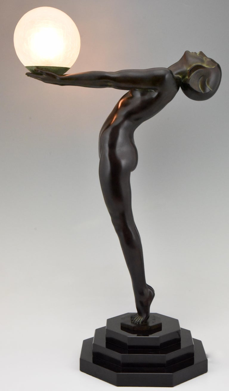 French Art Deco Lamp Clarté Nude with Globe by Max Le Verrier For Sale