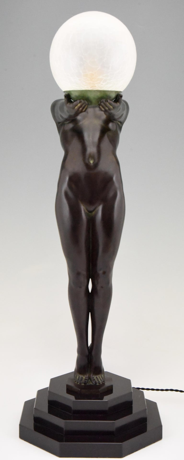 Art Deco Lamp Clarté Nude with Globe by Max Le Verrier In New Condition For Sale In Antwerp, BE