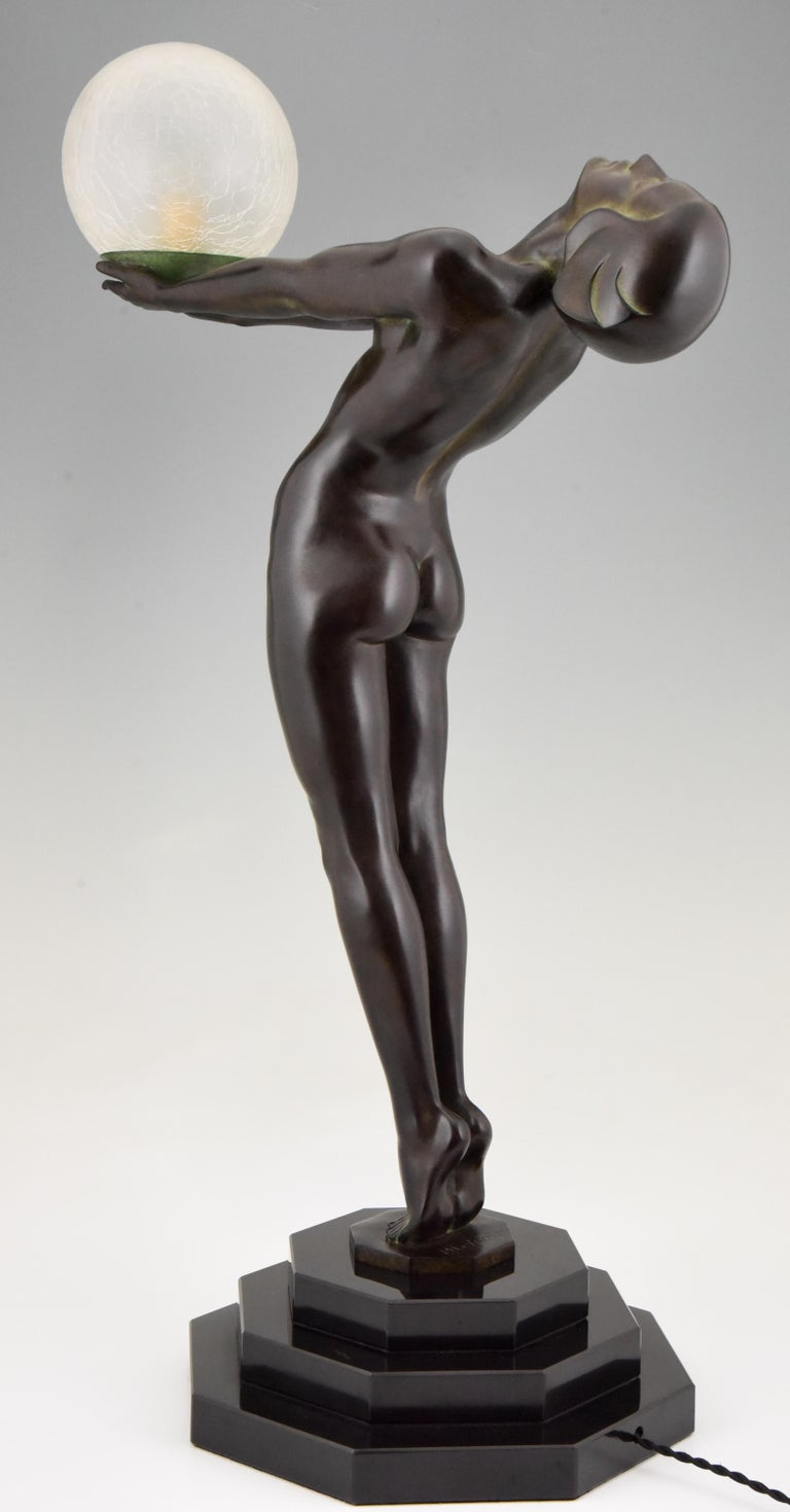 Art Deco Lamp Clarté Nude with Globe by Max Le Verrier For Sale 2