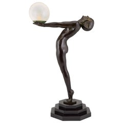 Art Deco Lamp Clarté Nude with Globe by Max Le Verrier