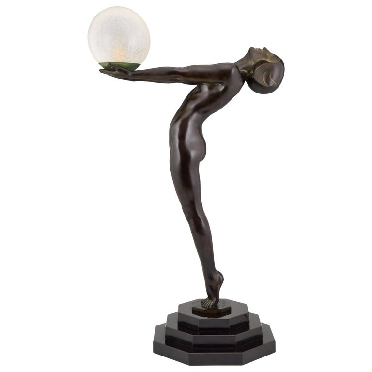 Art Deco Lamp Clarté Nude with Globe by Max Le Verrier For Sale